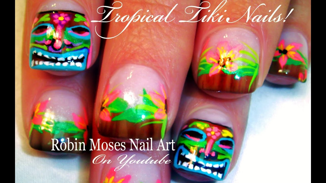 Tiki Mask Nail Art Tutorial Hawaii Nails Design Tutorial Youtube