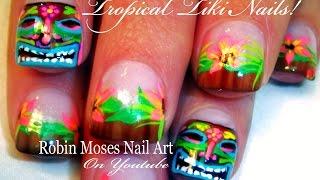 Hawaiian Tiki Mask Nail Art Tutorial   Totem Pooka Nails design tutorial