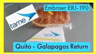 Flight Review Tame Quito to The Galapagos Return Embraer EJR-190