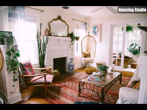 Eclectic Bohemian Living Room With Fireplaces