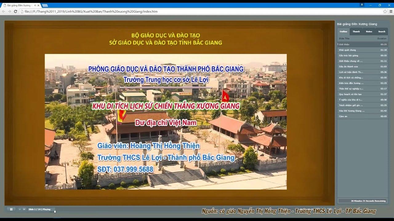 Bài giảng Eleaning: Khu di tích Thành Xương Giang