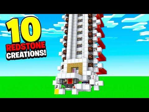 10 REDSTONE CREATIONS YOU CAN BUILD! (ELEVATOR, SECRET DOORS)