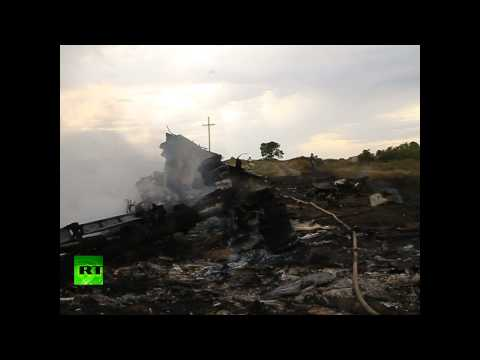 RAW: Debris at Malaysian MH17 plane crash site in E. Ukraine