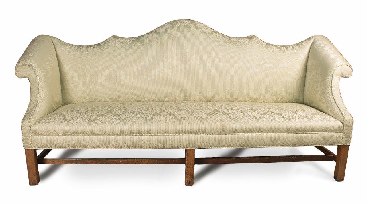 Mahogany Double Peaked Camelback Sofa