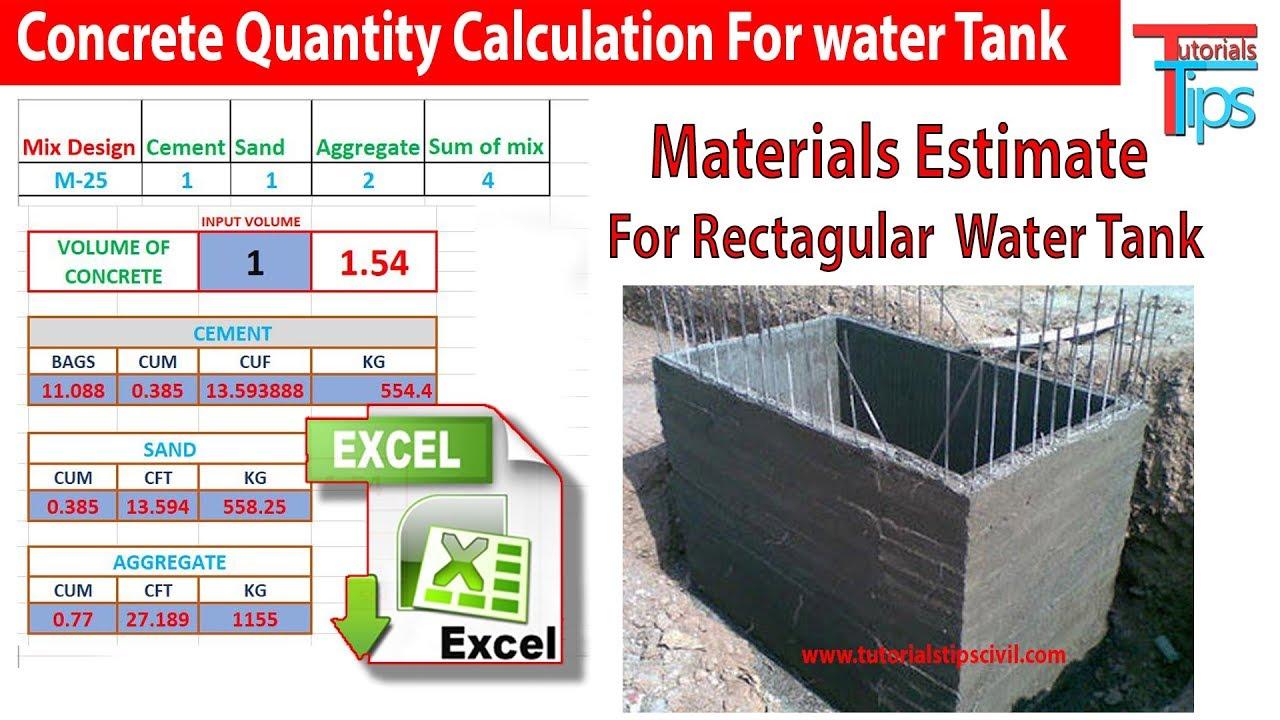 Concrete Volume For Rectangular Water Tank | Rectangular Water Tank Estimate