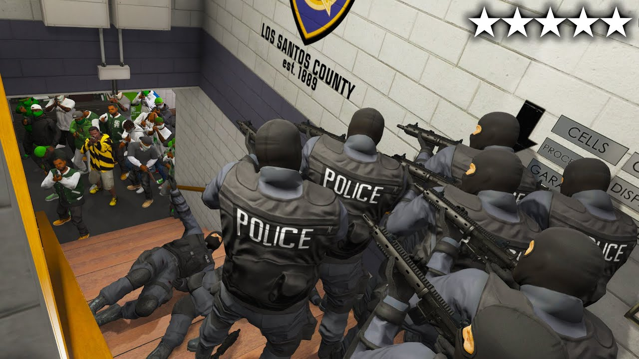 Download GTA 5 - Franklin and His 30 Body Guards vs 5 Star Police (Rampage at Police Station)