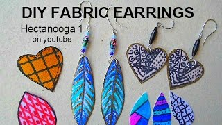 Download Video diy Jewelry Making, how to make feather earrings, fabric earrings,  craft project MP3 3GP MP4
