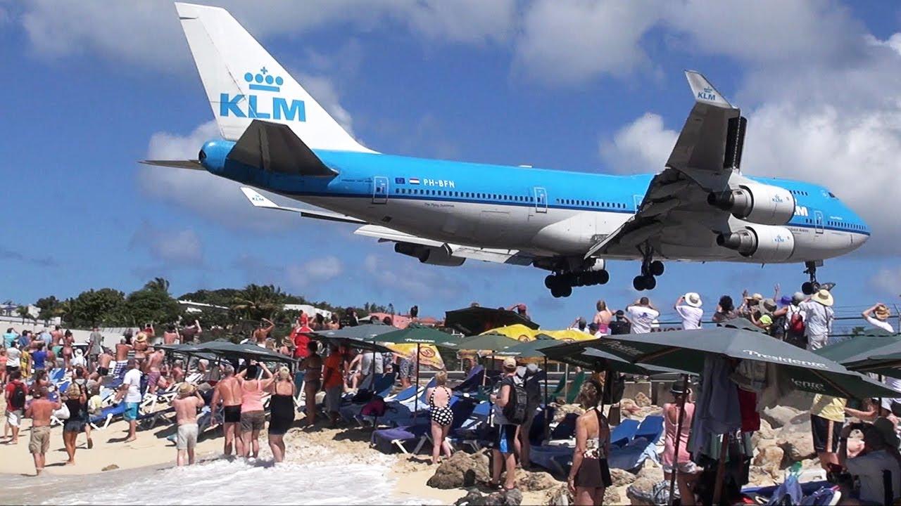 St Martin Klm Boeing 747 Beach Arrival Hd Youtube