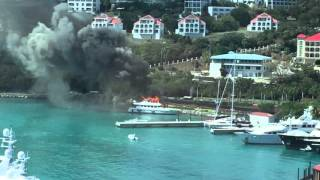 St Thomas Yacht Positive Energy Fire Burns to water line March 15 2016