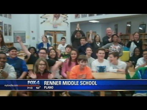 Evan visits Renner Middle School
