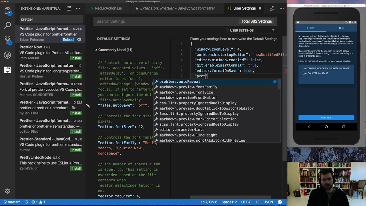 Autoformat your React Native code with Prettier in VSCode