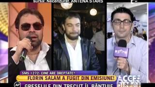 """Deranjat de întrebări, Florin Salam a fugit din emisiunea """"Necenzurat""""!"""