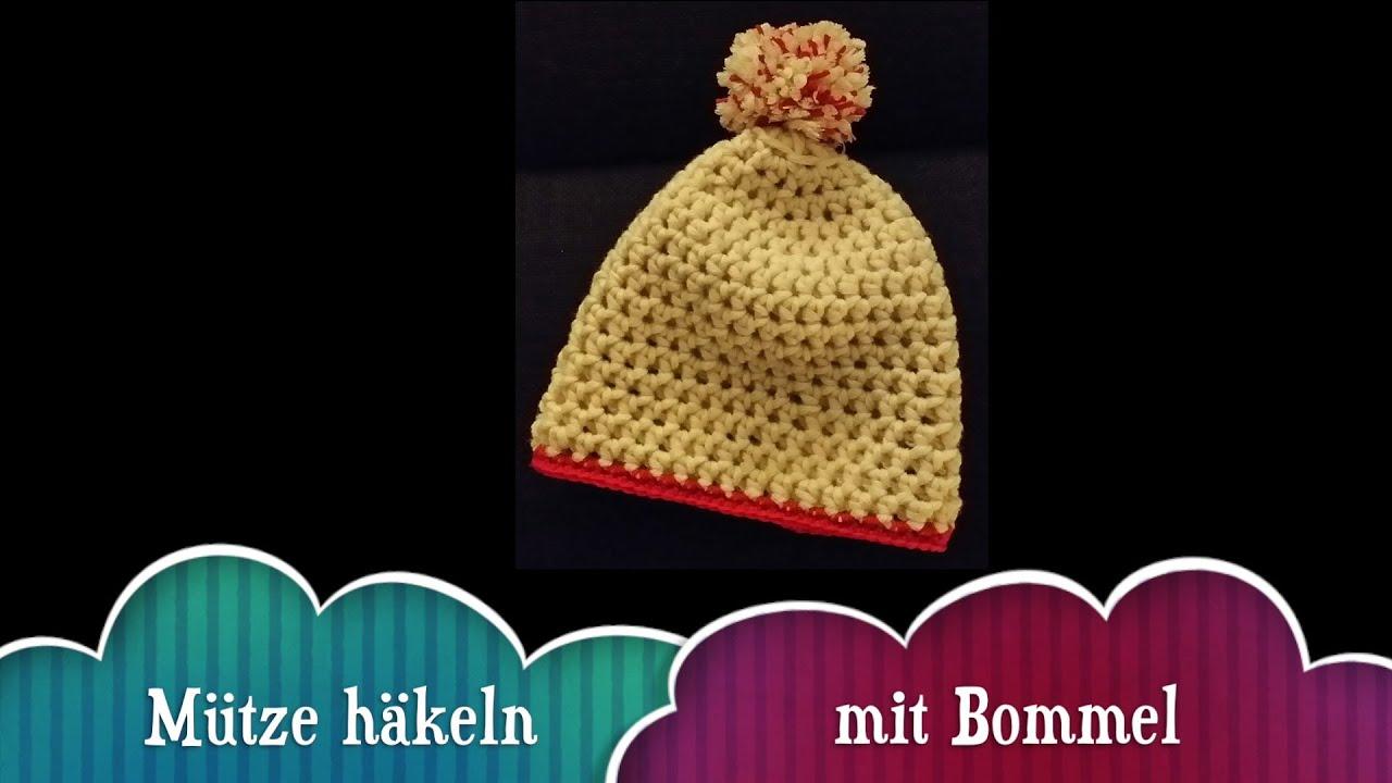Mütze Häkeln mit Bommel für Anfänger - YouTube