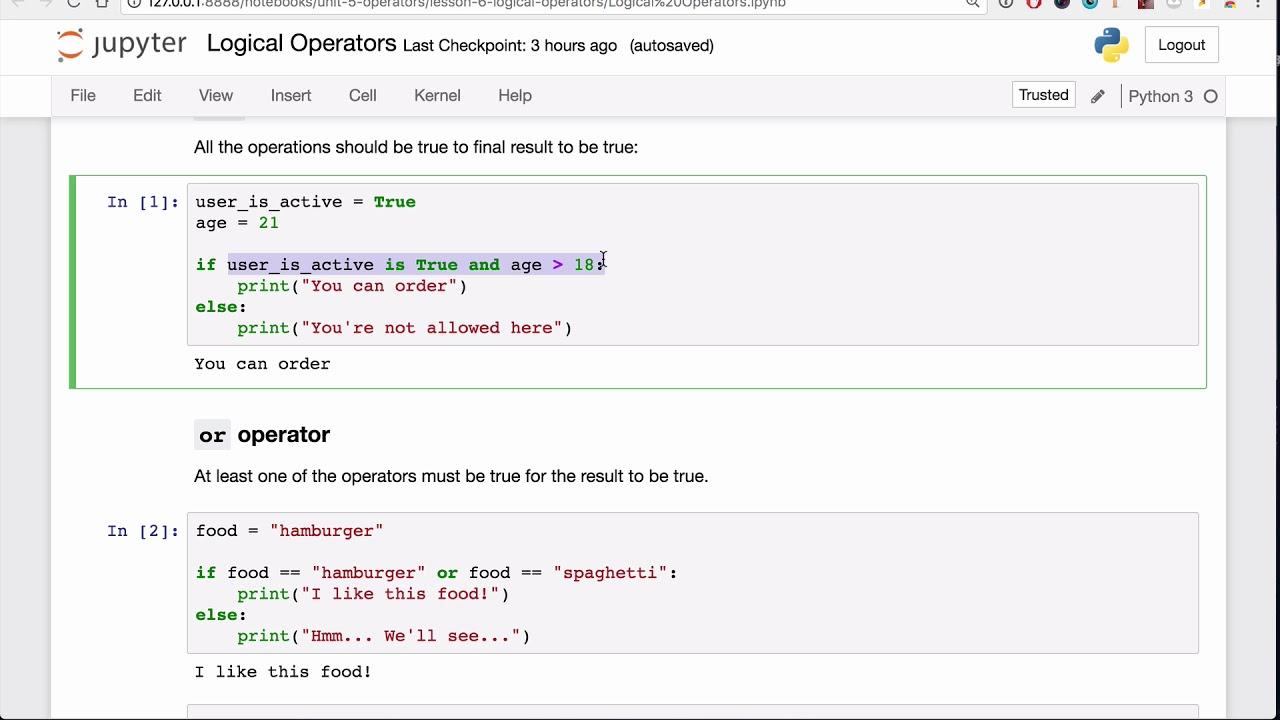 Logical Operators Lesson - Base Python Track