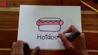 How To Draw Hotdog step by step