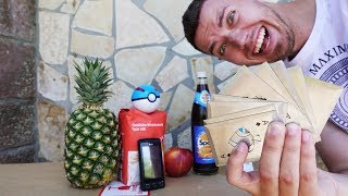 Kann eine Metall Wurfkarte eine Spezi Glasflasche zerstören? - Experiment
