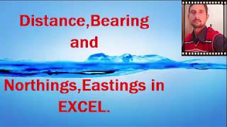 Distance,Bearing,Northing and Easting of straight line in EXCEL.