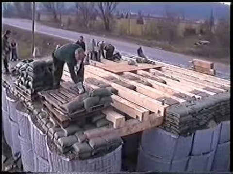 Construction Work Of Bunker Shelter With Hesco Bastion