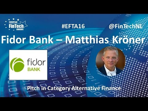 Fidor Bank Pitch by Matthias Kröner in Alternative Finance category at European FinTech Awards 2016
