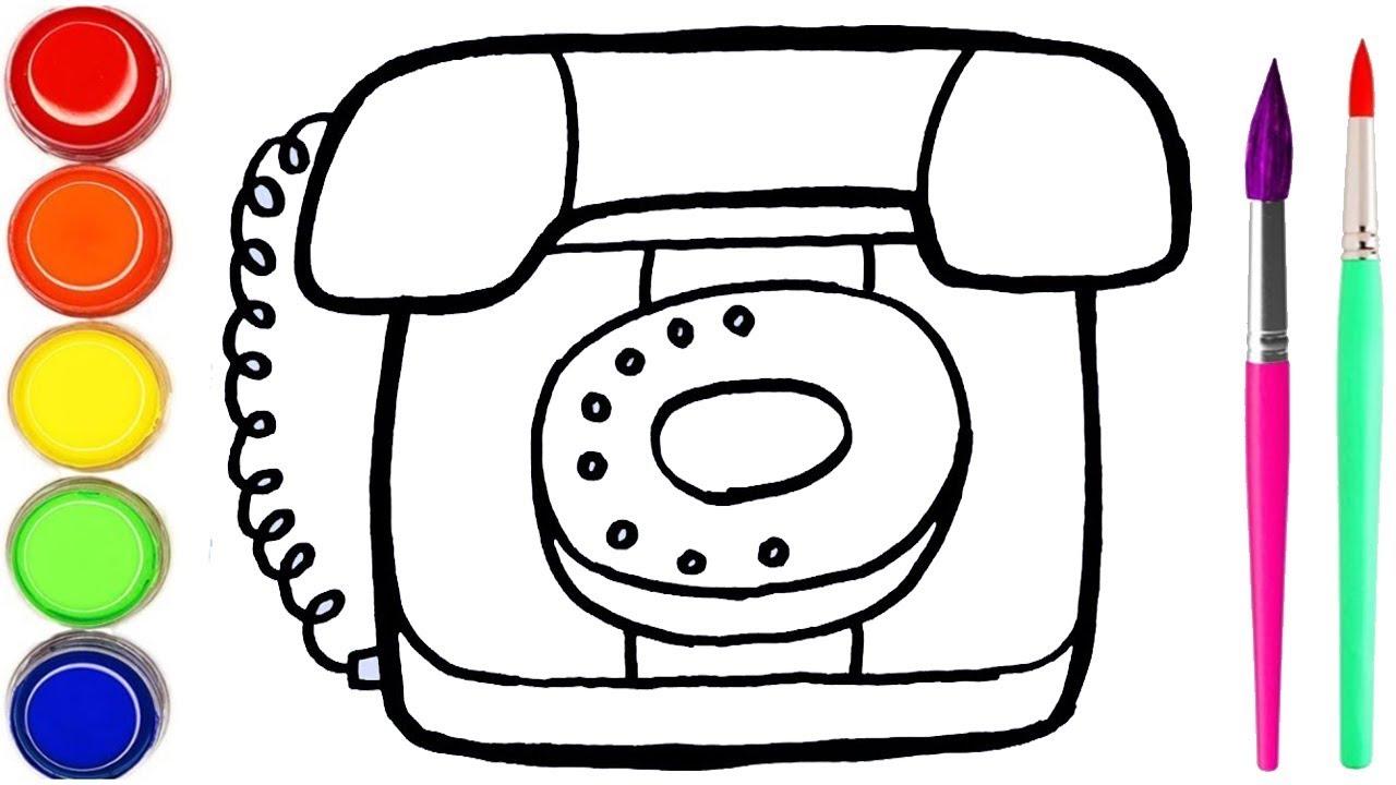 Menggambar Dan Mewarnai Mainan Telepon Rumah Cara