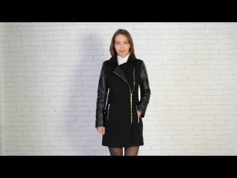 Modena-Fashion.ru Женское пальто с кожаными рукавами Ломбардия