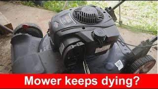 Lawn mower engine stutters and dies after 10 minutes of use