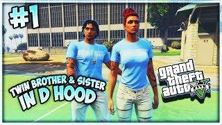 GTA 5 TWIN SISTER & BROTHER IN DA HOOD EP. 1 - PARK FIGHT 👊👫 (GTA 5  RP SKITS)