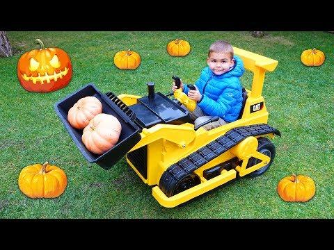 Dima Harvest Pumpkins For Halloween On Power Wheels Bulldozer