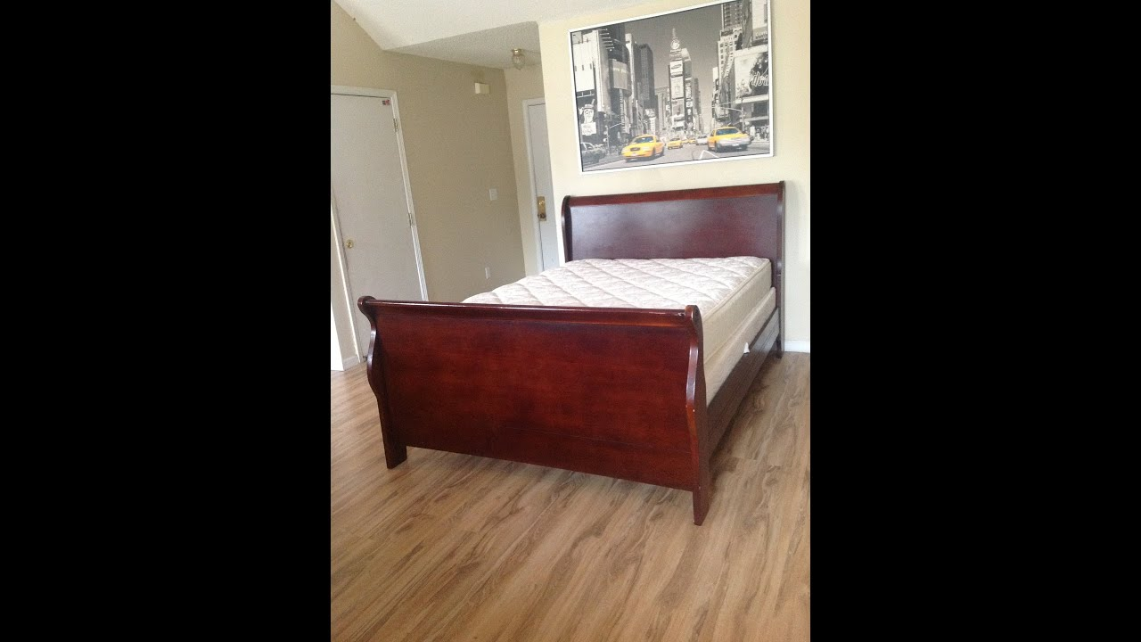 Dark Wood Cottage Sleigh Bed Frame Alone Mattress