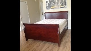 Dark Wood  Cottage Sleigh Bed Frame Alone  Mattress Boxspring Additional