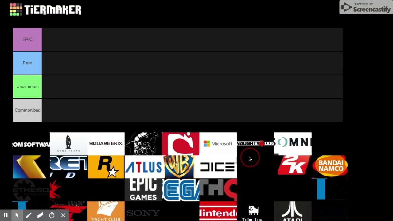 Video Game Companies tier list