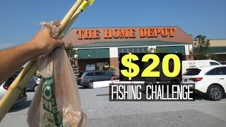 $20 Homemade Fishing Rod Challenge!! (Surprising!) Home Depot!