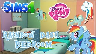 My Little Pony Rainbow Dash Themed Kids Bedroom || The Sims 4 Room Speed Build + CC Link