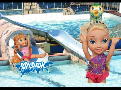 Elsa and Anna Toddlers Swimming Pool Giant Water Slide Disney Princess Dolls Frozen Toys In Action