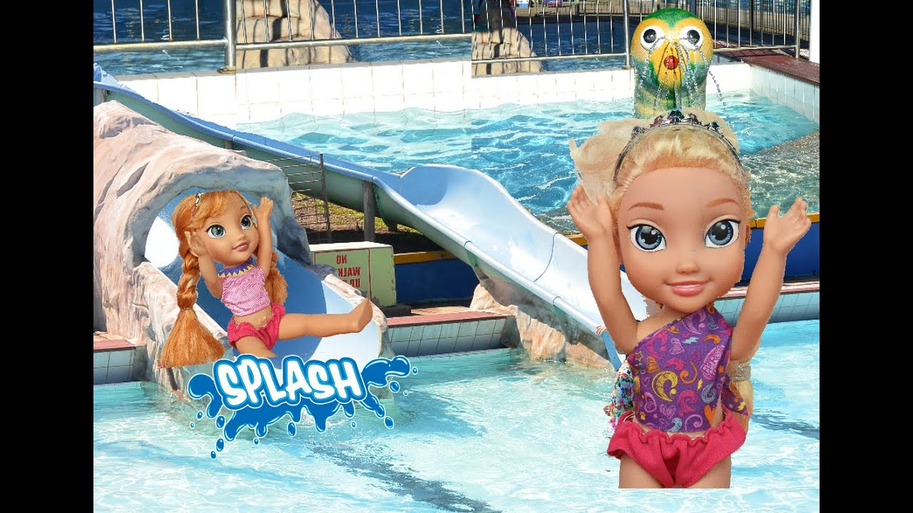 Elsia And Anna Toddlers Swimming Pool Giant Water Slide Disney Princess Dolls Toys In Action