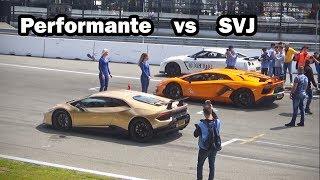lambo vs Lambo: Who's faster??   Aventador SVJ -vs- Huracán Performante