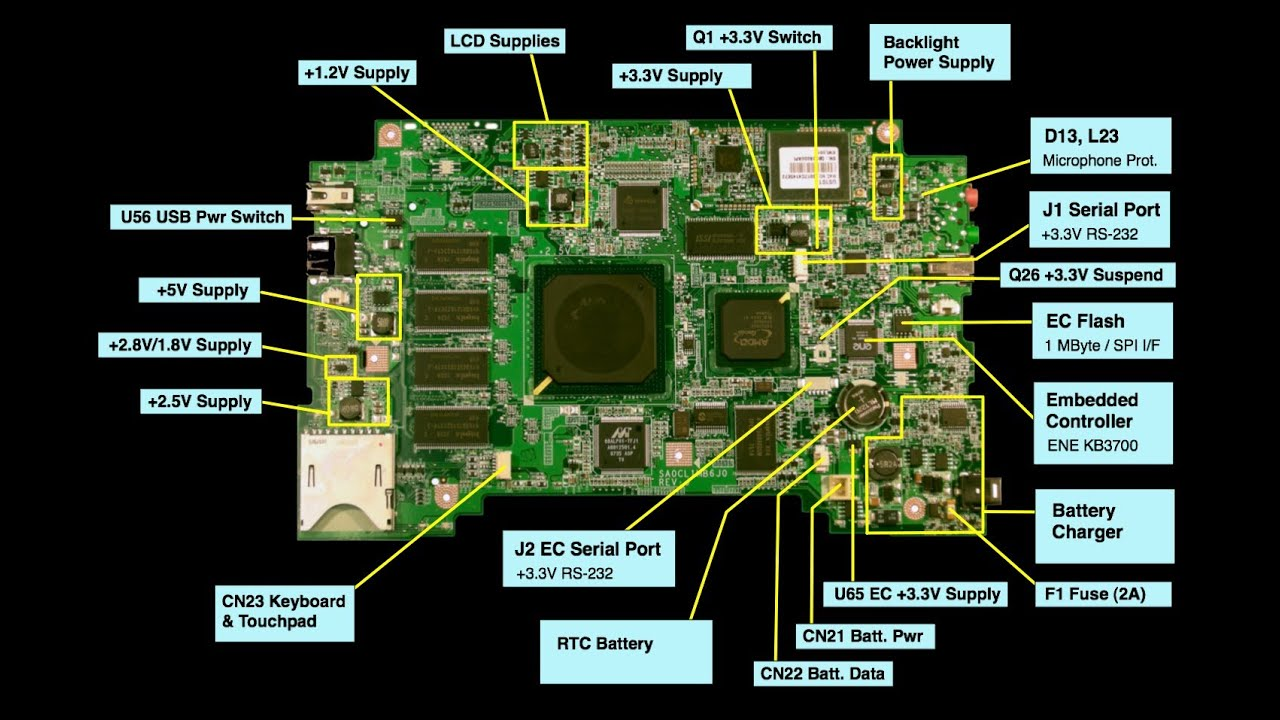 testing the charging circuit on a laptop motherboard part