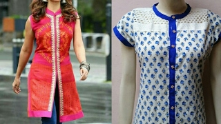 Latest Round neck collar kurti with open front cutting and stitching