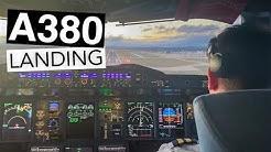 A380 Cockpit Landing.