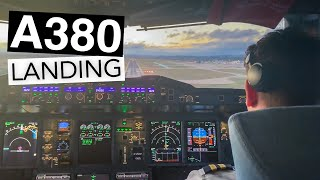 A380 Cockpit Landing..