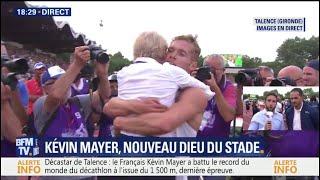 La joie de Kévin Mayer après avoir battu le record du monde de décathlon à Talence