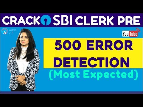 CRACK SBI CLERK PRE | 500 Error Detection (Most Expected) (Part-2) | English |