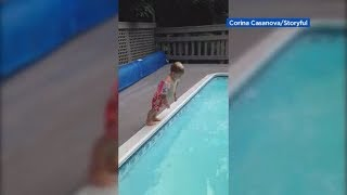 Little boy performs spectacular belly flop