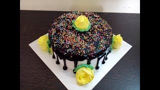 Simple Homemade Chocolate Cake Decoration With Chocolate Ganache