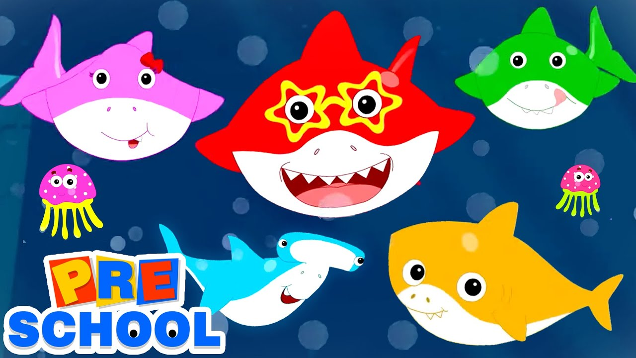 Five Hungry Sharks | Baby Shark Song | Nursery Rhymes and Kids Songs