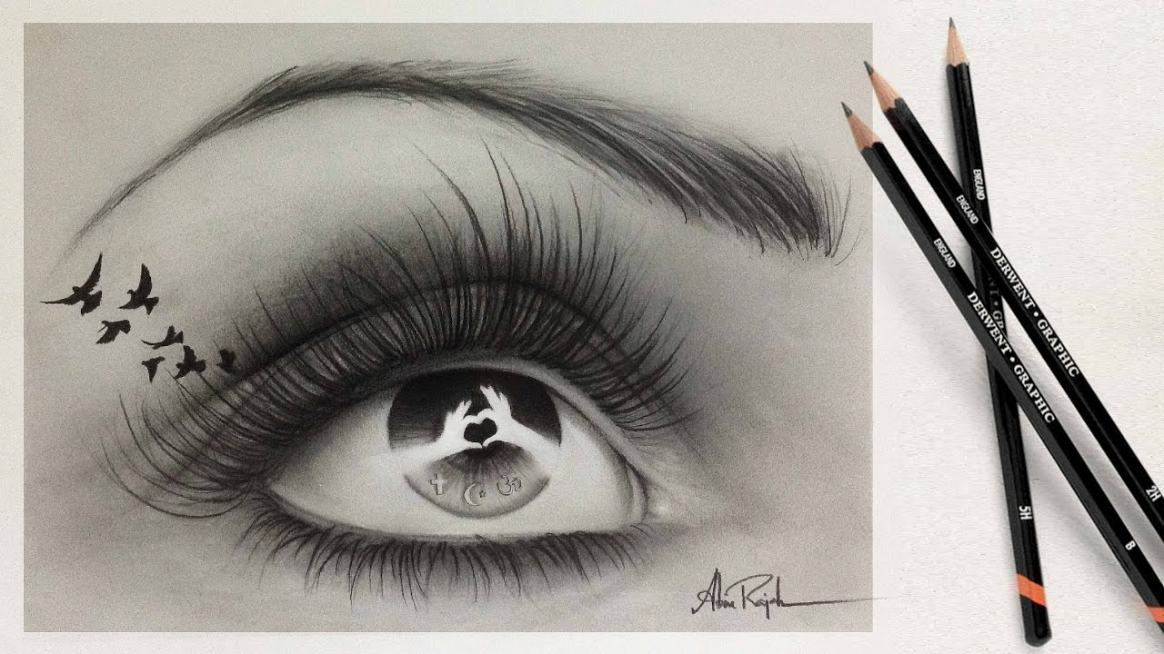 Learn How To Draw A Realistic Eye With Pencil (time Lapse)  A Vision Of  Unity