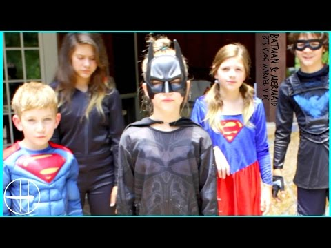 I'm BATMAN & a MERMAID today! Behind the Scenes Nerf War Marvel v DC pool party vlog SuperHeroKids