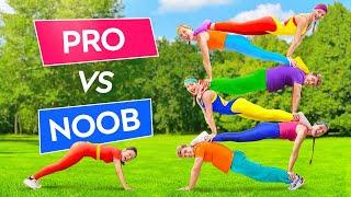 IMPOSSIBLE TIK TOK ACROBATICS CHALLENGE || PRO vs NOOB! Gymnastic TikTok Tricks By 123 GO! Challenge