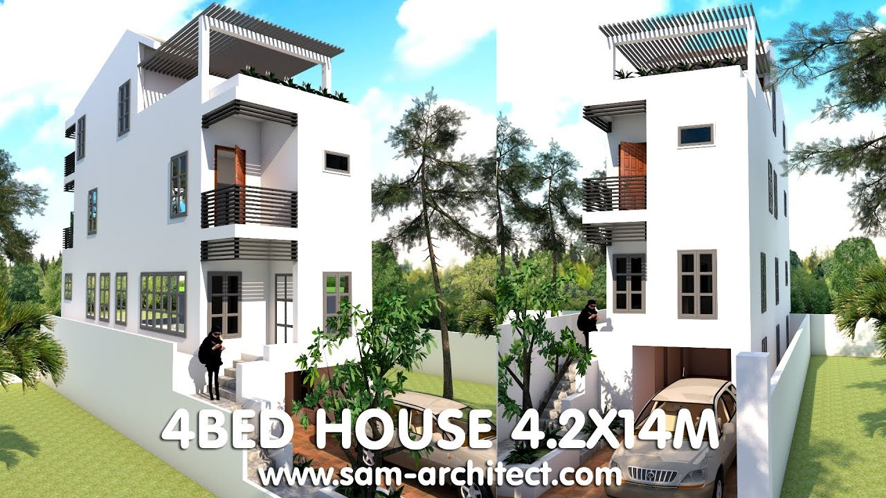 4 Stories Narrow House 4.2x14m With 4 Bedrooms Plan - Sketchup on narrow art, narrow lot house, small lake lot plans, narrow sink, narrow house roof, narrow house layout, narrow cabinets, narrow yard landscaping ideas, narrow home, narrow bedroom, narrow modern house, narrow house elevations, narrow garden, narrow beach house, narrow 3 story house, narrow windows, narrow kitchens, framing plans, narrow house interior design, narrow doors,