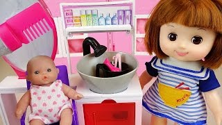 Baby doll and Barbie hairshop toys play